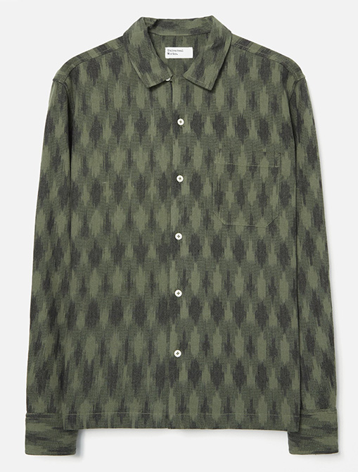 Universal Works Garage Shirt Heavy Ikat Green