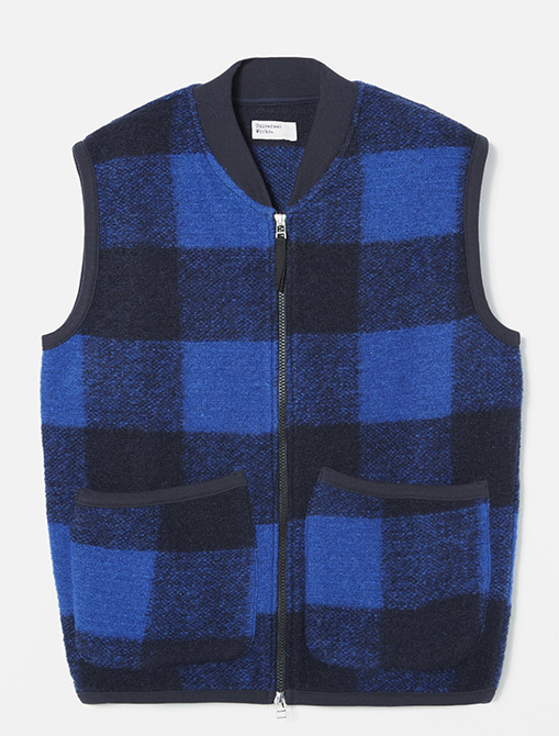 Universal Works Zip Waistcoat Check Wool Fleece Blue