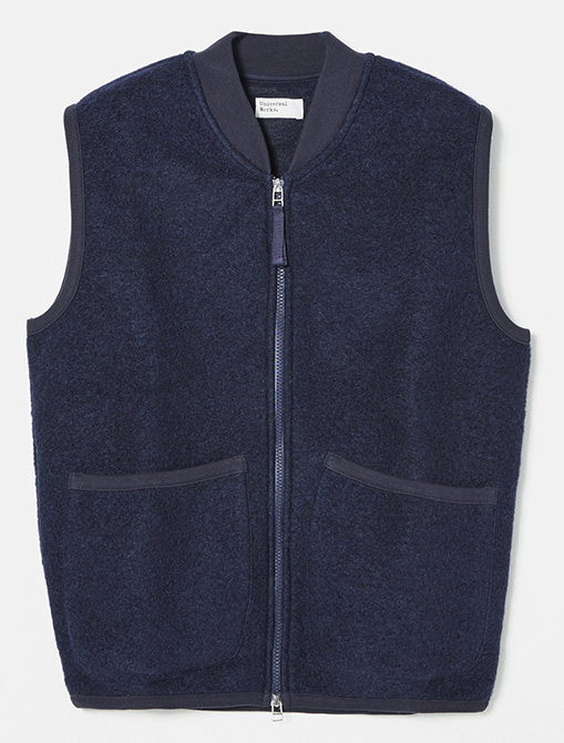 Universal Works Zip Waistcoat Wool Fleece Navy