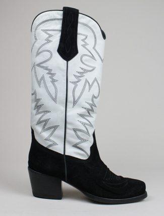Ralph Lauren stivale texano Nero Bianco