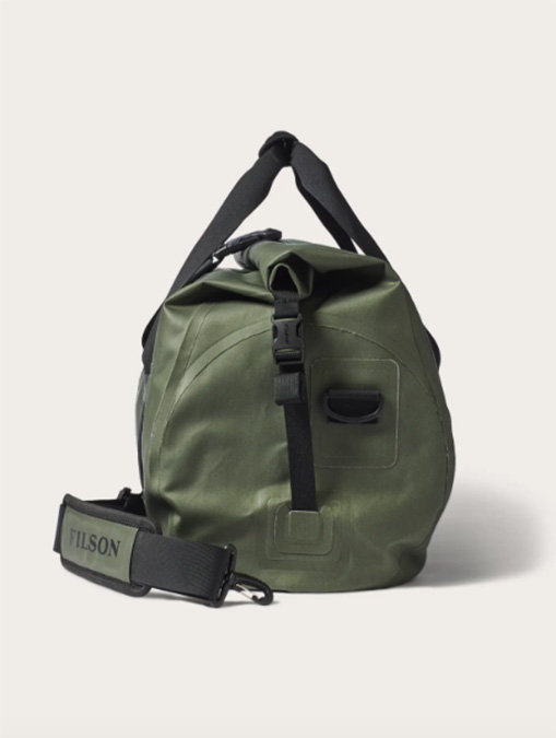 Filson Medium Dry Duffle Bag Green side detail