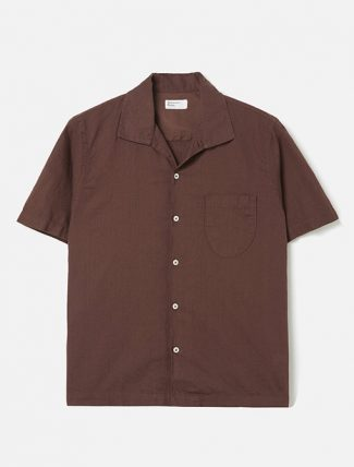 Universal Works Open Collar Shirt in Raisin Linen