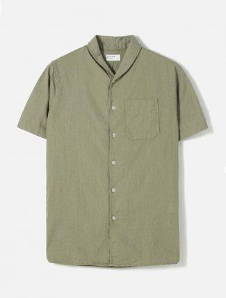 Universal Works Shawl Collar Shirt in Laurel Linen