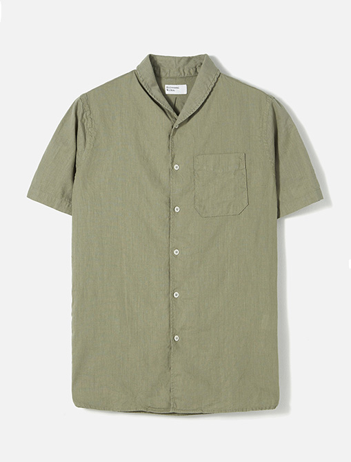 Universal Works Shawl Collar Shirt in Laurel Linen