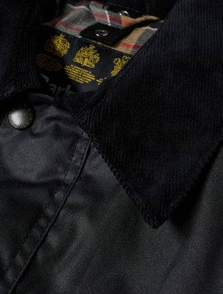 Barbour Ashby Wax Jacket Navy neck detail