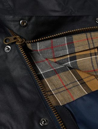 Barbour Ashby Wax Jacket Navy lining detail