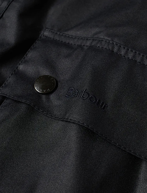 Barbour Ashby Wax Jacket Navy pocket detail