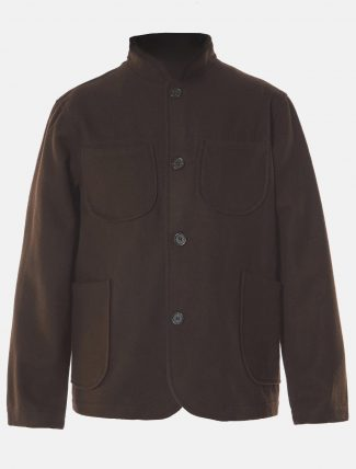 Universal Works Nehru Melton Jacket Chocolate