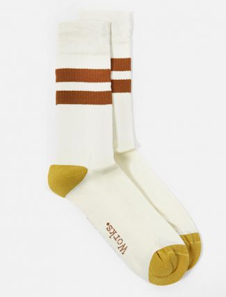 Universal Works Sport Sock in Ecru Orange Cotton Rib