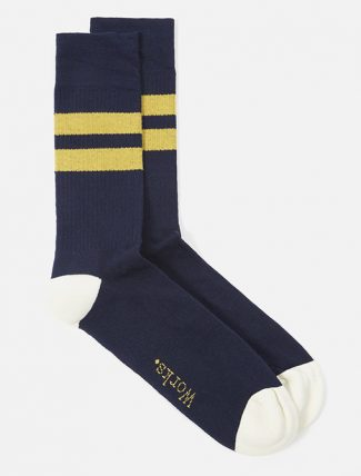 Universal Works Sport Sock In Navy Yellow Cotton Rib