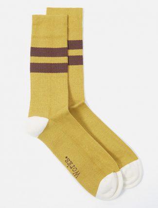 Universal Works Sport Sock In Yellow/Raisin Cotton Rib