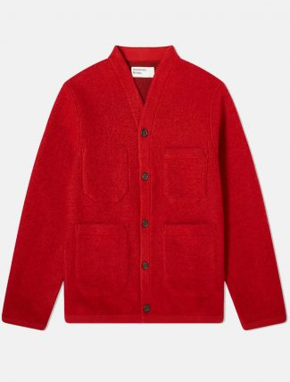 Universal Works Wool Fleece Cardigan Red