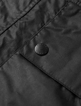 Barbour Hiking Wax Jacket Black pocket detail