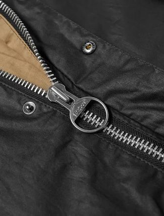 Barbour Hiking Wax Jacket Black zip detail