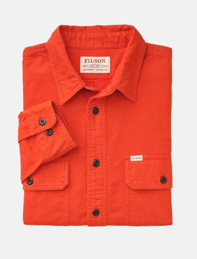 Filson Fiel Flannel Shirt Pheasant Red dettaglio