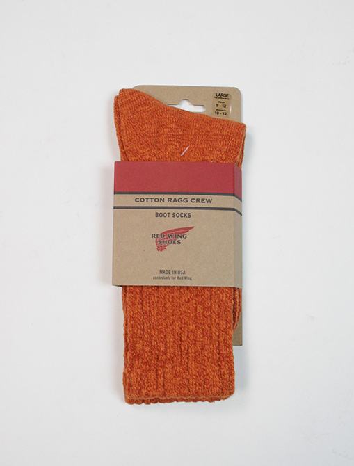 Red Wing 97371 Cotton Ragg Overdyed Socks Rust Orange