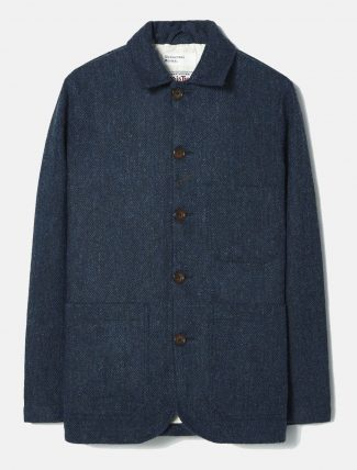Universal Works Bakers Jacket Harris Tweed Navy Harringbone
