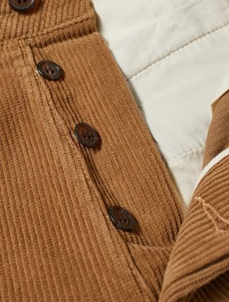 Universal Works Military Chino Cord Taupe dettaglio bottoni