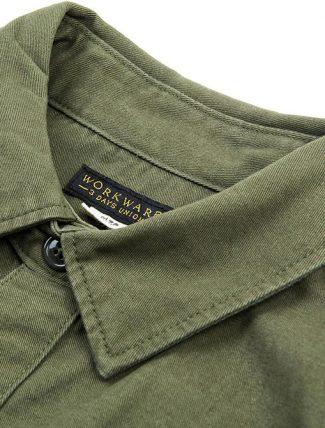 WorkWare M51 Patch Shirt Olive dettaglio collo