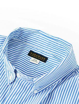 WorkWare Oversize Shirt Stripe dettaglio collo