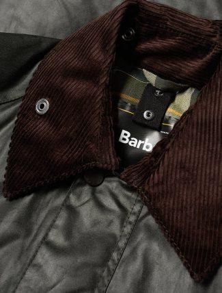 Barbour Bedale Jacket Sage neck detail