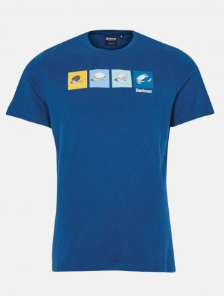 Barbour Fly Fish Tee Estate Blue