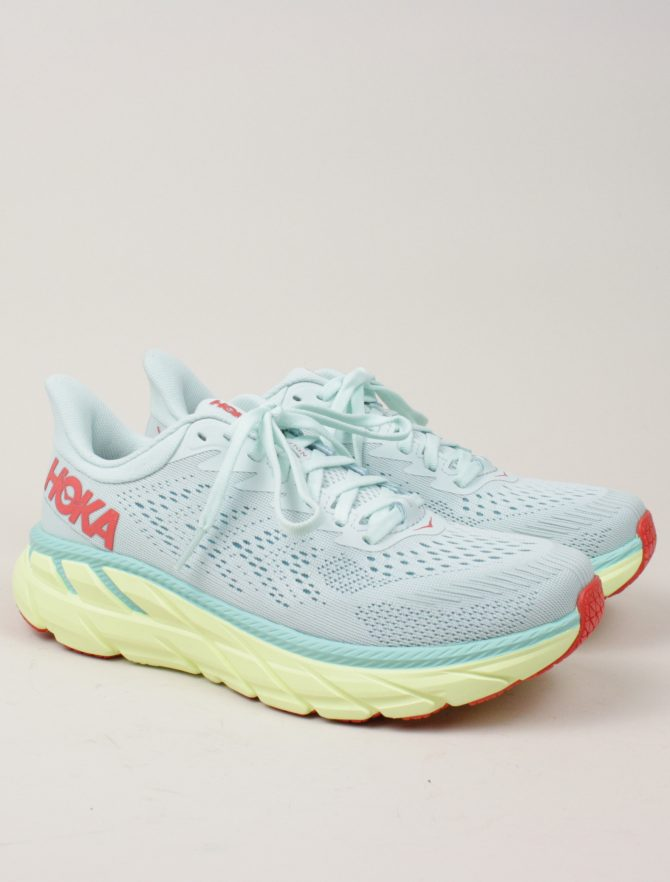 Hoka One One W Clifton 7 Morning Mist Hot Coral paio