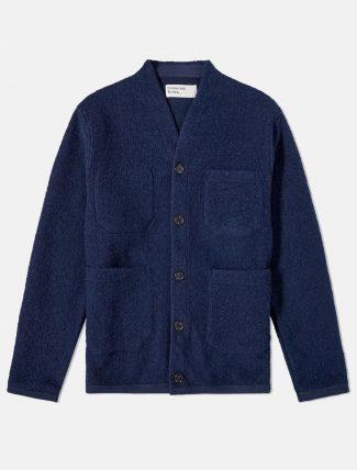 Universal Works Cardigan Tibet Wool fleece Navy