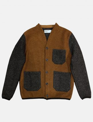 Universal Works Cardigan Wool fleece Rust Brown