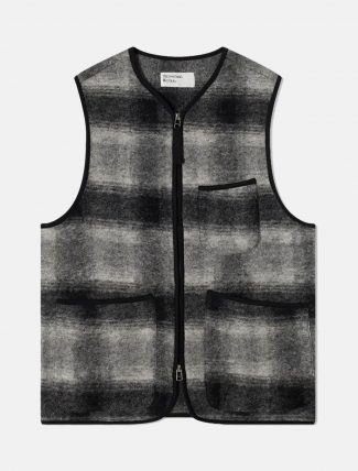 Universal Works Wool Fleece Check Zip Waistoat Grey Charcoal